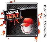 baseball head with cap on splat ... | Shutterstock .eps vector #35437003