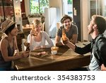 four friends having a drink... | Shutterstock . vector #354383753