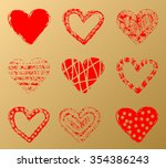 vector hearts set. hand drawn.... | Shutterstock .eps vector #354386243