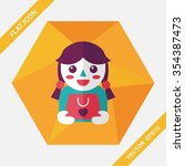 shopping girl and present flat... | Shutterstock .eps vector #354387473