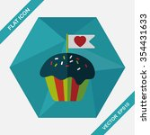 valentine's day cupcake flat... | Shutterstock .eps vector #354431633