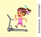 cartoon woman running on... | Shutterstock .eps vector #354434867