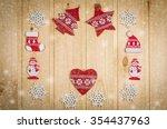 wooden christmas figurines... | Shutterstock . vector #354437963