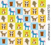 set of funny animals panda bear ... | Shutterstock . vector #354448733