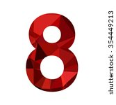 number eight red polygonal... | Shutterstock .eps vector #354449213
