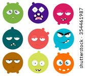 set of cartoon faces with...   Shutterstock .eps vector #354461987