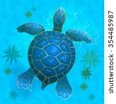 cartoon vector blue sea turtle... | Shutterstock .eps vector #354485987