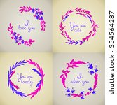 set of four hand drawn flower... | Shutterstock .eps vector #354564287