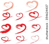 hand drawn vector heart set... | Shutterstock .eps vector #354624437