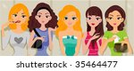 girls at the washroom   vector