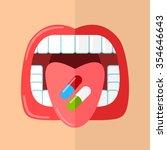 woman taking pills. flat... | Shutterstock .eps vector #354646643