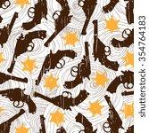 hand drawn retro gun seamless... | Shutterstock .eps vector #354764183