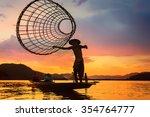 asia fishermen on boat fishing...   Shutterstock . vector #354764777