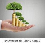 human hand coin to money ... | Shutterstock . vector #354772817