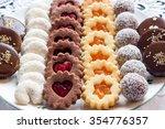 group of sweet cookies  linzer  ... | Shutterstock . vector #354776357
