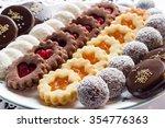 mixed christmas cookies in line ... | Shutterstock . vector #354776363