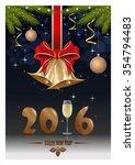 gold figures 2016  glass of... | Shutterstock .eps vector #354794483