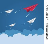 flying paper planes on the blue ... | Shutterstock .eps vector #354844877