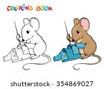 coloring book or page. mouse... | Shutterstock .eps vector #354869027