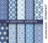 10 blue vintage patterns for...   Shutterstock .eps vector #354869447
