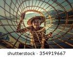 Asia Fishermen On Boat Fishing...