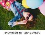 young stylish hipster teen girl ... | Shutterstock . vector #354939593