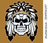 skull indian chief with feather ... | Shutterstock .eps vector #354954197
