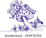butterfly caterpillar bug grass ... | Shutterstock .eps vector #354970703