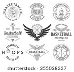 basketball badges and crests... | Shutterstock .eps vector #355038227