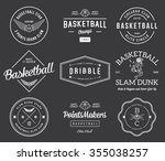 basketball badges and crests... | Shutterstock .eps vector #355038257