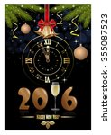 happy new year 2016. clock ... | Shutterstock .eps vector #355087523