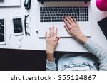 woman typing on her white... | Shutterstock . vector #355124867