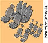 car seats isometric icon set | Shutterstock .eps vector #355153487