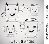 the devil and cute angel ... | Shutterstock .eps vector #355188587