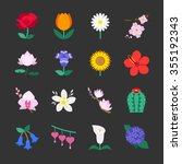 colorful flower icons. included ... | Shutterstock .eps vector #355192343