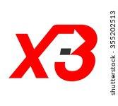 x and 3 logo vector.   Shutterstock .eps vector #355202513