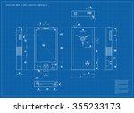 realistic blueprint nuclear... | Shutterstock .eps vector #355233173