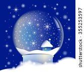 snow globe with night... | Shutterstock . vector #355253597
