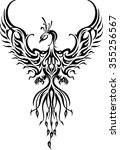 phoenix bird tattoo fictional... | Shutterstock .eps vector #355256567
