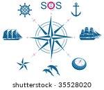 set of nautical vector symbols | Shutterstock .eps vector #35528020