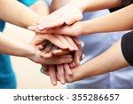 white caucasian and black afro... | Shutterstock . vector #355286657