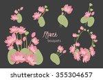 floral lotus retro vintage... | Shutterstock .eps vector #355304657