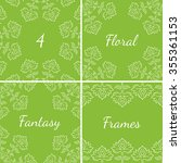 4 fantasy floral frames with... | Shutterstock .eps vector #355361153