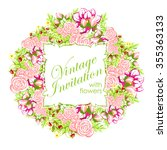invitation with floral... | Shutterstock . vector #355363133