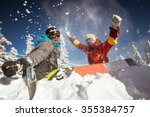 happy couple of snowboarders... | Shutterstock . vector #355384757