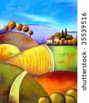 Painting of a harvest time landscape in naive style. - stock photo