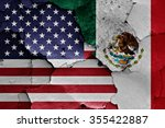 flags of usa and mexico painted ... | Shutterstock . vector #355422887