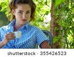 morning coffee in an italian... | Shutterstock . vector #355426523