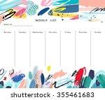 weekly planner template.... | Shutterstock .eps vector #355461683
