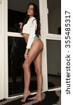 sexy brunette young woman  | Shutterstock . vector #355485317